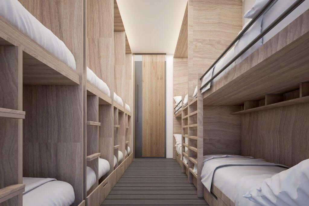 シンプレスト函館のドミトリー10床(シャワー・トイレ・洗面台共用)